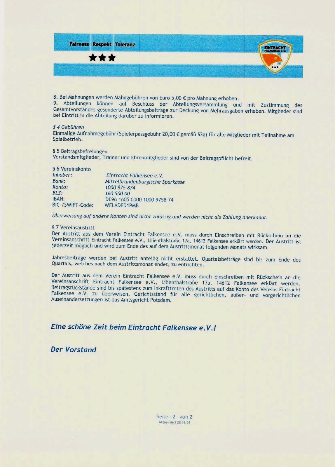 Eintracht Falkensee Beitragsordnung Alt
