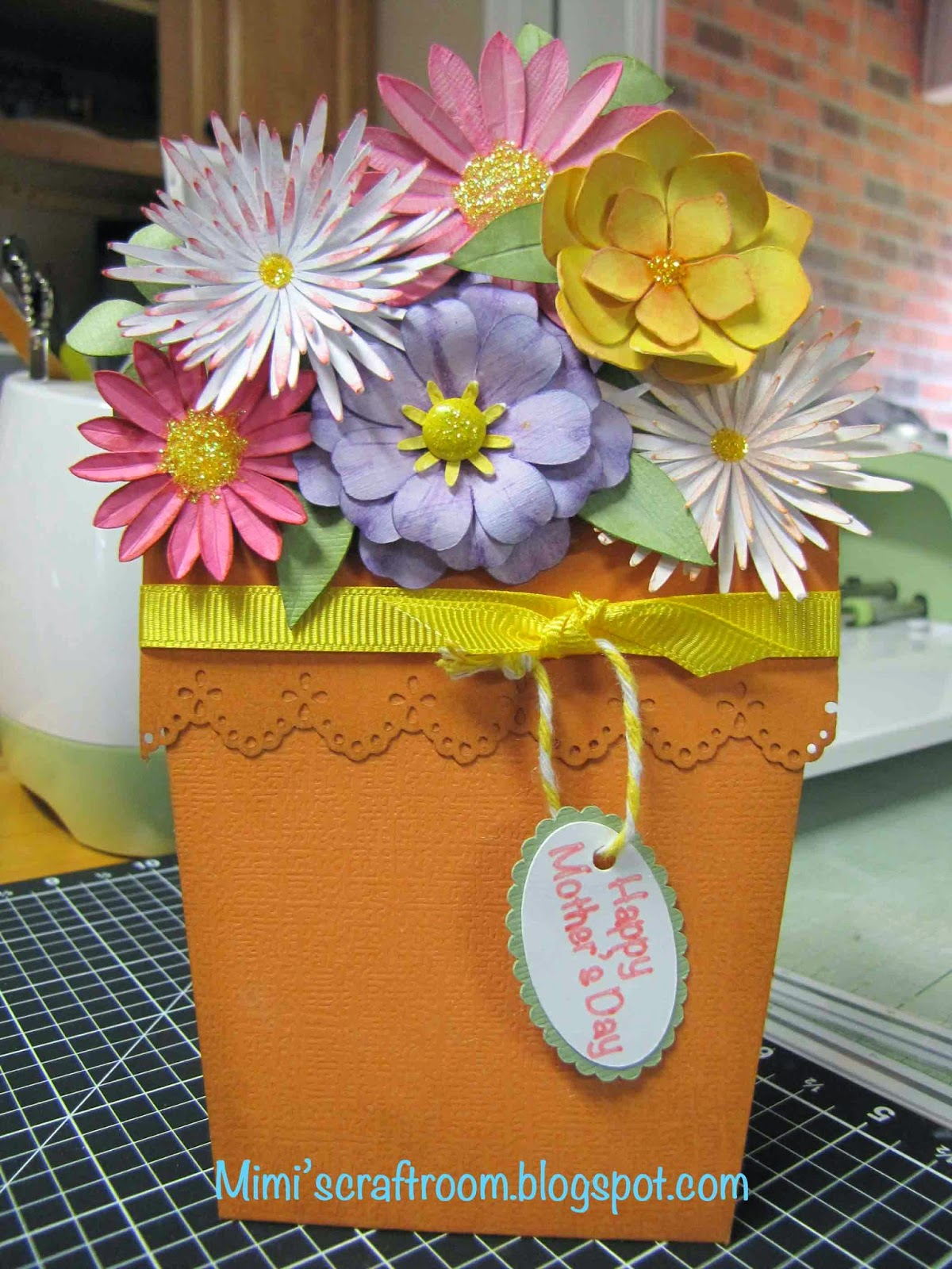 mimi's craft room  mother's day flower pot card with