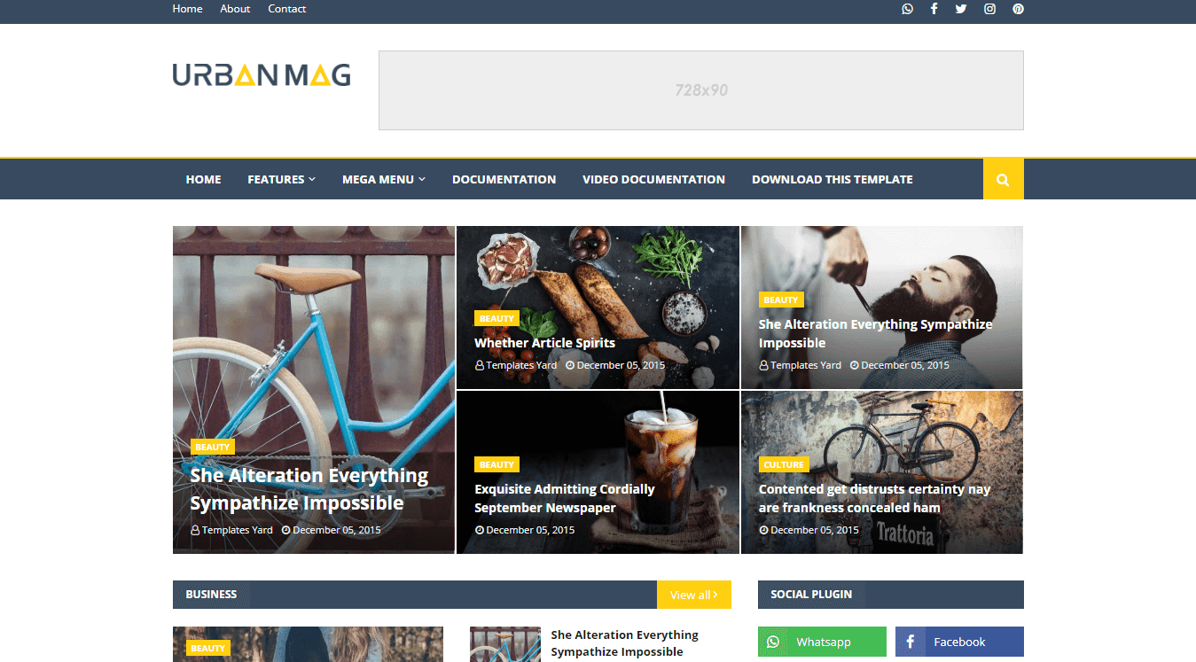 Urban Mag Blog Magazine Blogger Template 2020