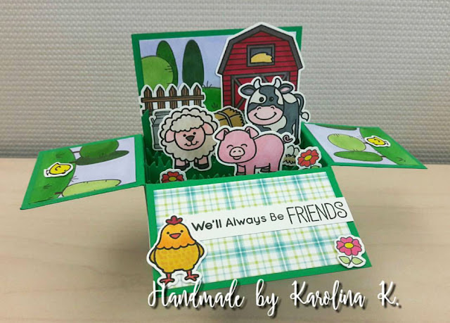 Sunny Studio Stamps: Barnyard Buddies interactive pop-up box card by Karolina Kucharski