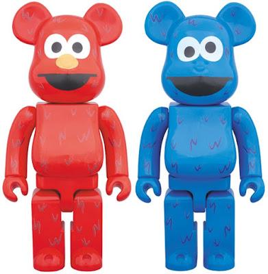 Sesame Street Elmo & Cookie Monster Be@rbrick Vinyl Figures by Medicom