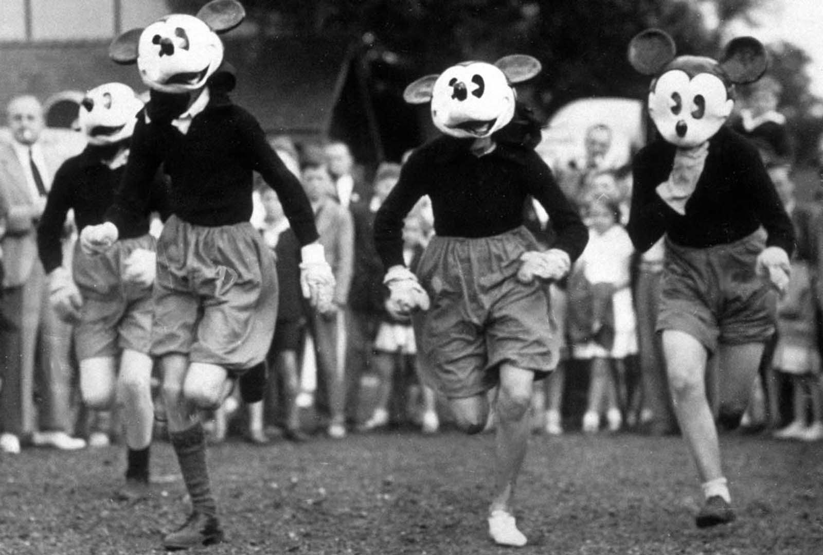 A Mickey Mouse race during the Mickey Mouse Club Sports Day, Guildford. 1938.