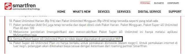 Paket Internet Smartfren Super 4G Unlimited Ternyata Tidak Bisa Dipakai di MiFi