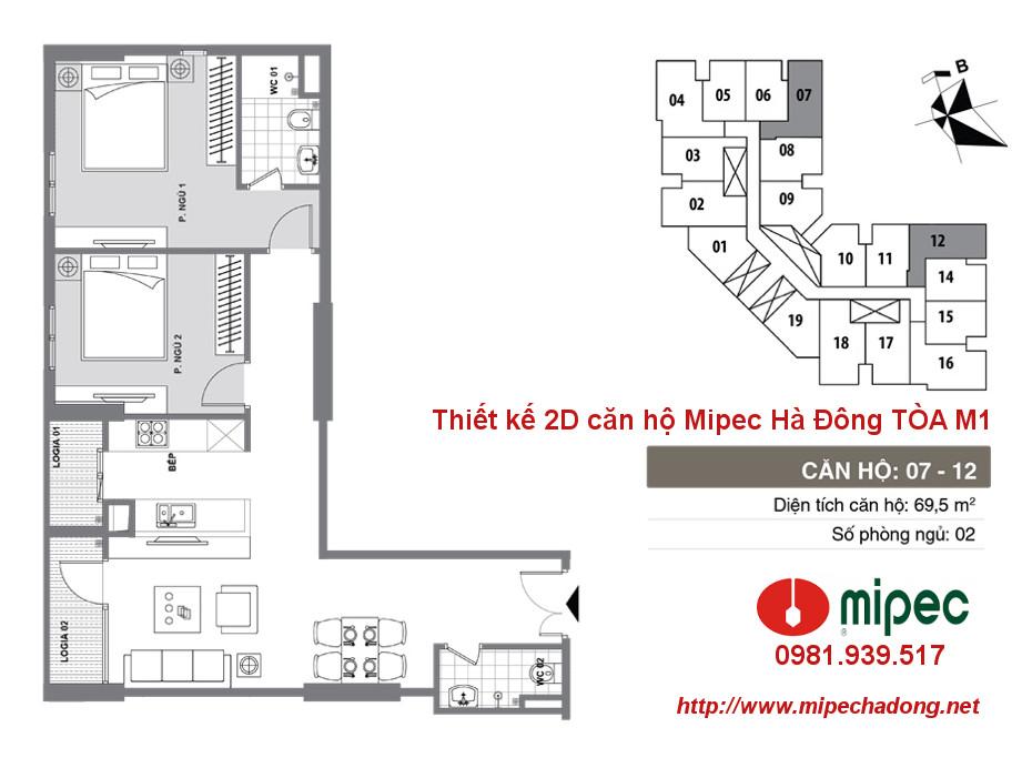 Hình ảnh Thiết kế căn hộ Mipec Hà Đông tòa M1 Căn 07 và 12