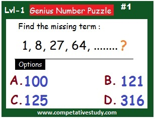 number puzzle: Find the missing term: 1,8,27,64....?