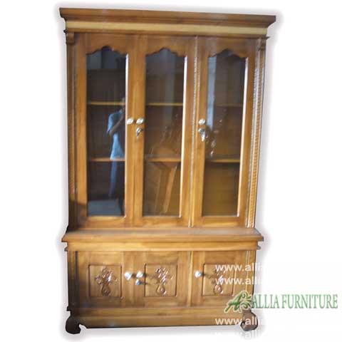 lemari kaca hias kayu jati 3 pintu