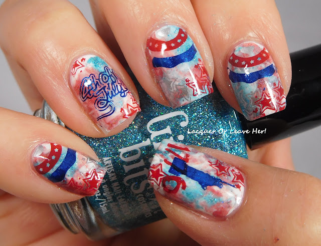 UberChic Beauty Fourth of July mini over Shinespark Polish Heart Of A Hero, Sally Hansen Get Mod, & Girly Bits Cosmetics Le Freak