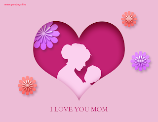 i love you mom mother holding a baby flowers designs