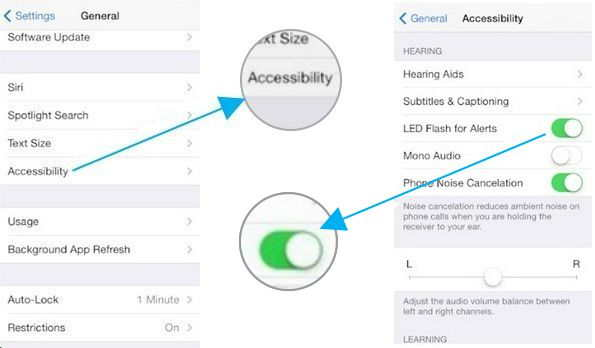 enable led flash alerts iphone