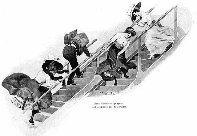 1910 amusement park moving stairs would change direction, illustration