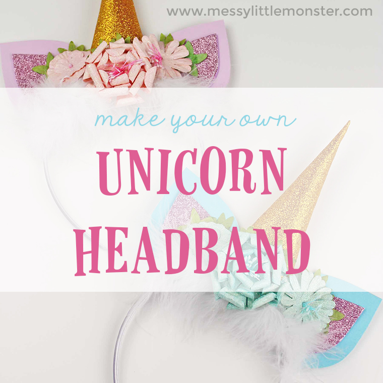 Unicorn craft ideas - make your own unicorn horn headband. An easy unicorn craft for kids with unicorn template. DIY headband instructions.