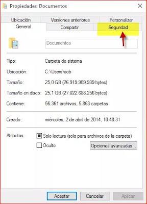 pantallazo: propiedades, botón derecho windows
