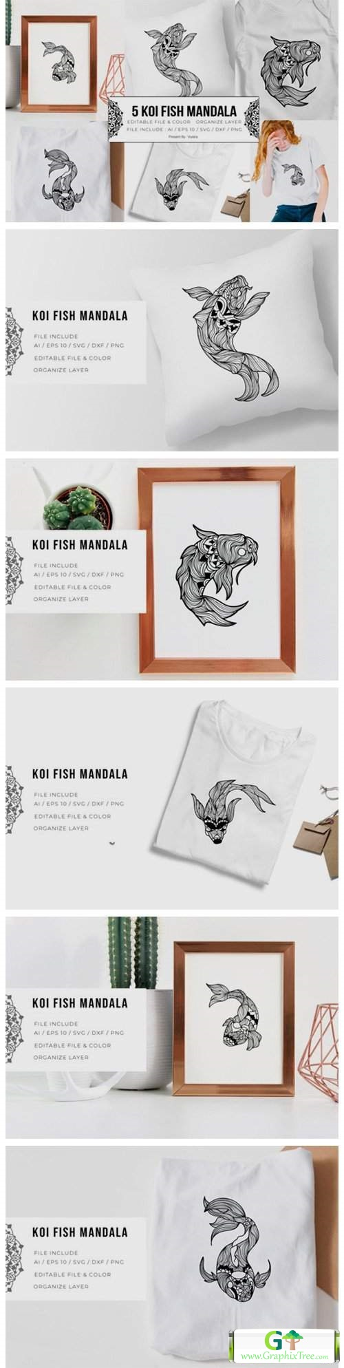 5 Koi Fish Bundle   Mandala