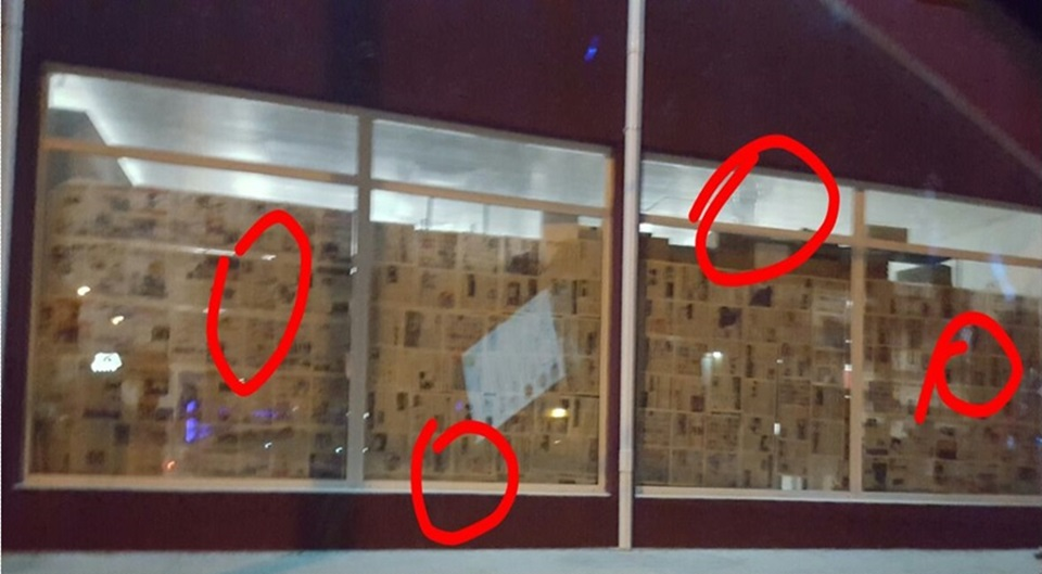A piedrazos rompieron vidrios farmacia IPAUSS