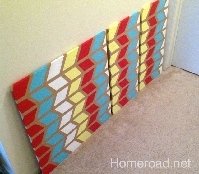Create paintings using a chevron design. Homeroad.net