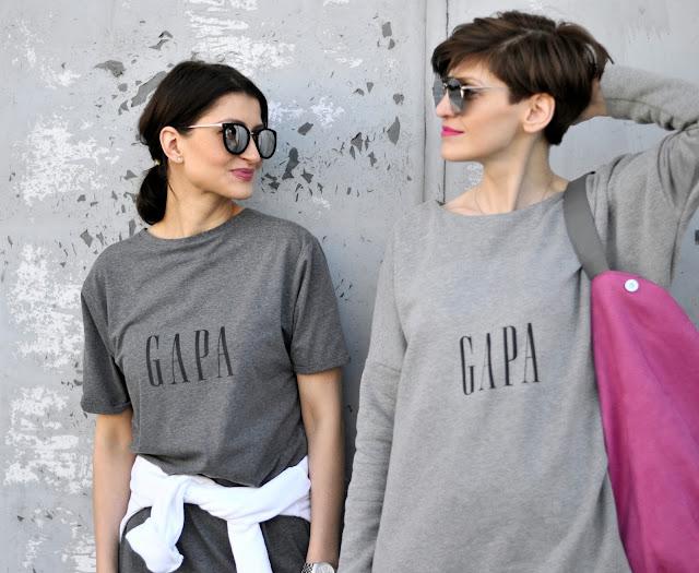bluza z nadrukiem, codzienny styl, colour, fashion stylist, gapa, grey, inspiracje, inspiration, komfy style, messwithme, minimalizm, novamoda, pink bag, sukienka, street style,
