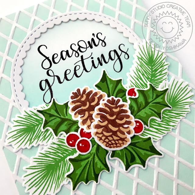 Sunny Studio Stamps: Christmas Trimmings Season's Greetings Pinecones & Holly Holiday Card by Mendi Yoshikwa