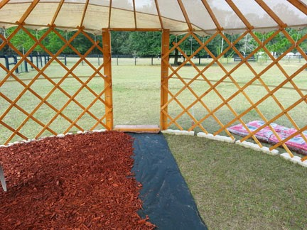 Shade yurt for vertical vegetable garden