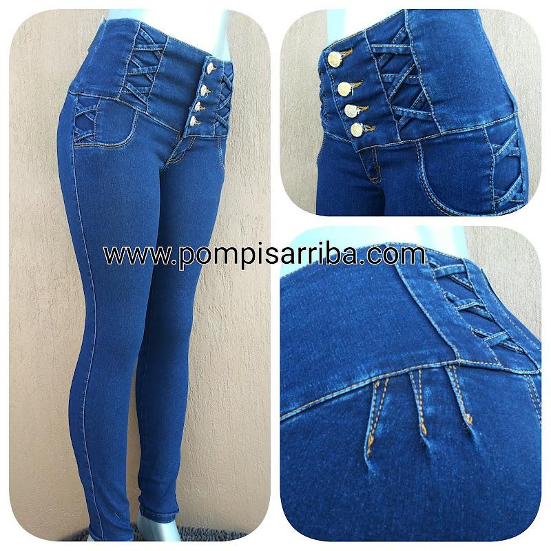 Pantalon tipo costillero de mezclilla para mujer
