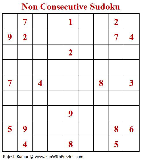 Non Consecutive Sudoku Puzzle (Fun With Sudoku #333)