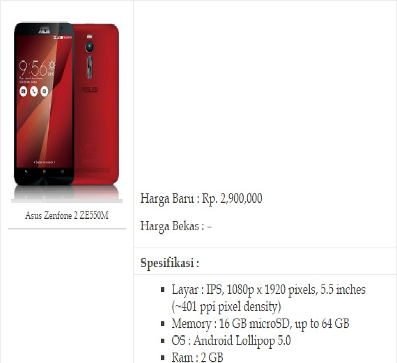 3. HP Android Ram 2GB ASUS Zenfone 2 ZE550ML