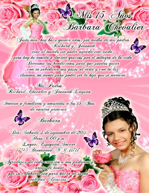 Tarjeta de Invitación Novedosa para 15 Años rosa con rosas y mariposas