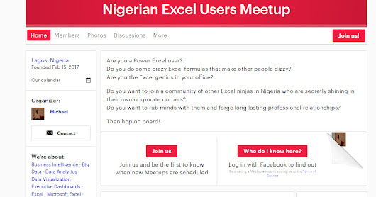 Join Nigerian Excel Users Meetup Group