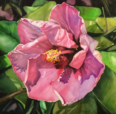 Original painting of a gloriously vibrant hibiscus flower from Hawaii by Colleen Sanchez