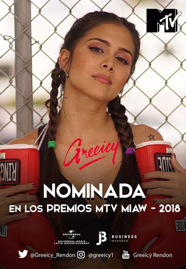 Greeicy-Rendon-nominada-premios-MTV-MIAW-2018