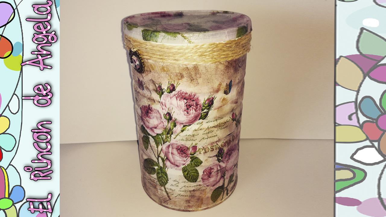 Decoupage bote reciclado decorado con servilletas de papel for Decoracion vintage manualidades