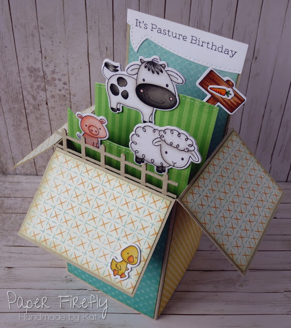 Pop up box card using Animal Farm by My Favorite Things