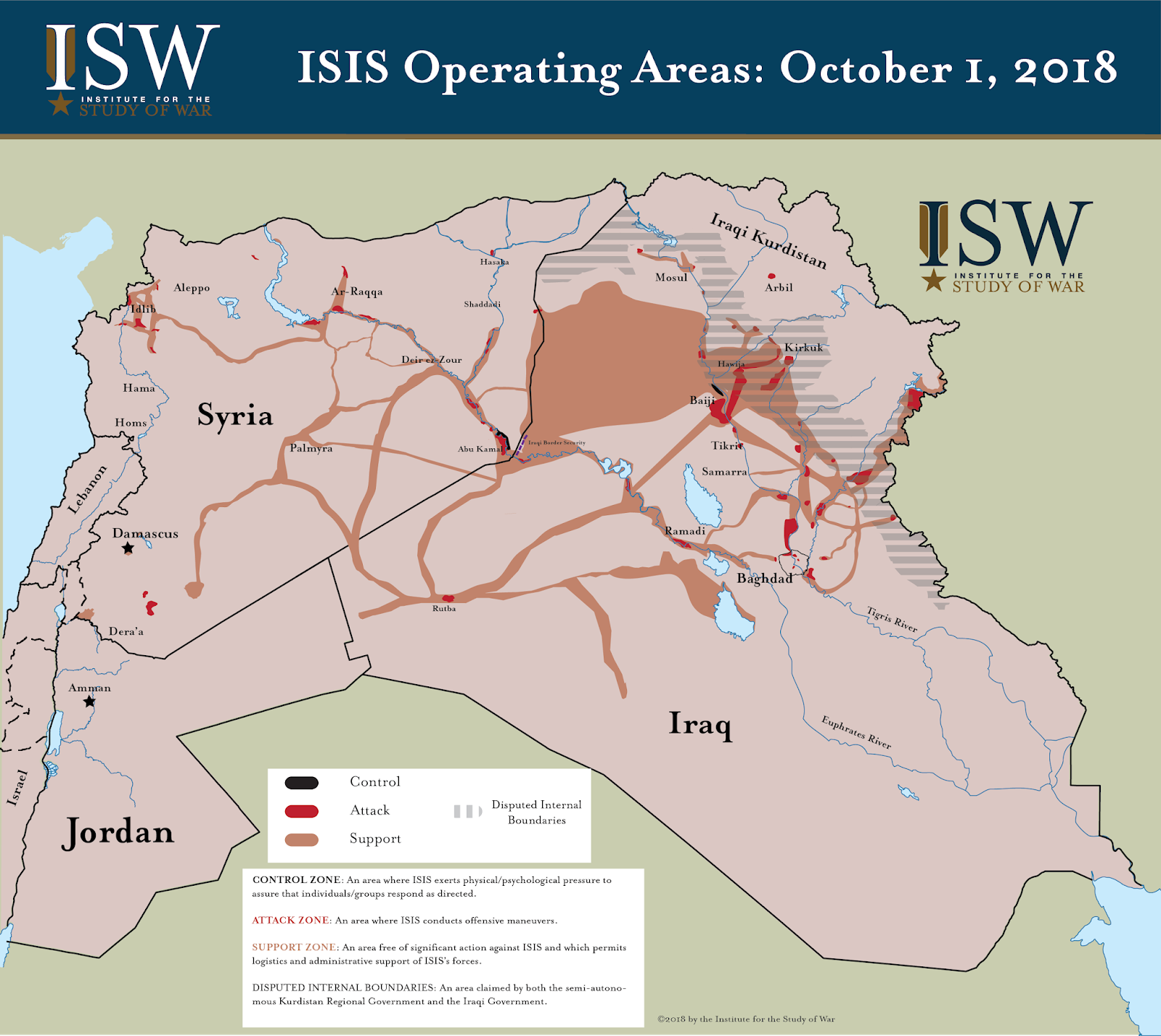 note this map depicts isis s operating areas in iraq and syria as of october 1 2018 the graphic presents an assessment of isis s control support