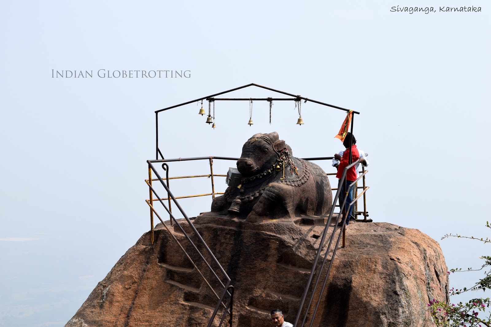 Nandi Statue on top of Shivaganga hill or shivaganga betta