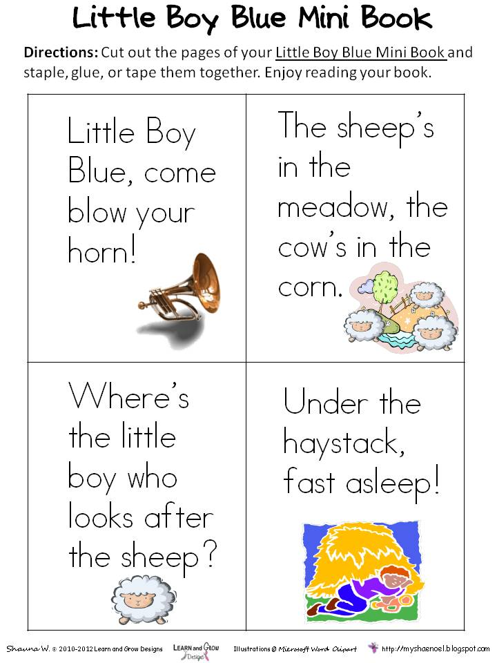 Learn And Grow Designs Website Little Boy Blue Nursery Rhyme Free Printables