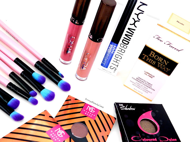 Ofra Liquid Lipsticks, Spectrum Eye Brushes, Too Faced Born This Way Foundation