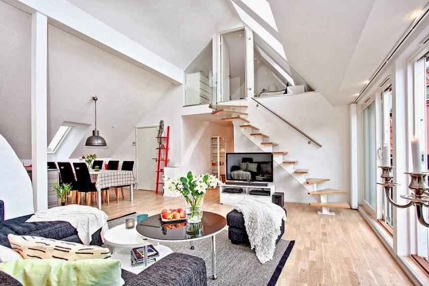 Dwupoziomowy, przestronny apartament w bieli, wystrój wnętrz, wnętrza, urządzanie domu, dekoracje wnętrz, aranżacja wnętrz, inspiracje wnętrz,interior design , dom i wnętrze, aranżacja mieszkania, modne wnętrza, białe wnętrza, wnętrza w bieli, salon, jadalnia