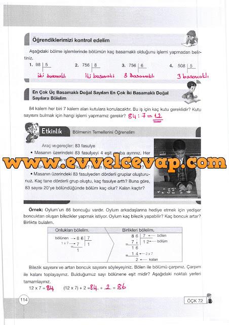 4. Sınıf Yakın Çağ Yayınları Matematik Ders Kitabı 114. Sayfa Cevapları Doğal Sayılarla Bölme İşlemi
