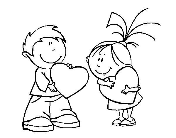 Image Of Ninos Para Colorear Amor Dibujo de niños en San Valentín ...