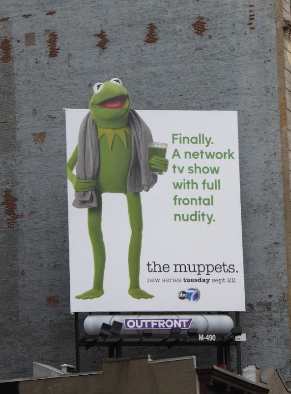 Muppets Kermit Full frontal nudity billboard NYC