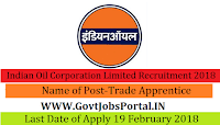 Indian Oil Corporation Limited Recruitment 2018 –350 Trade Apprentice