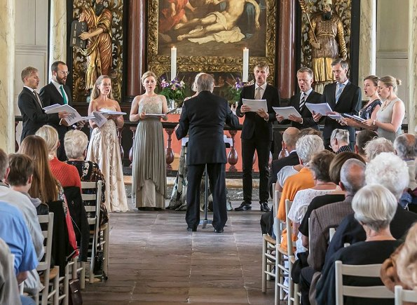 Queen Margrethe and Princess Benedikte at a church concert directed by conductor Bo Holten, performed by Musica Ficta