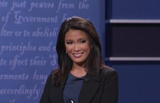 Although she had her critics, Elaine Quijano won admirers from both Democrats and Republicans as she had the tough job of moderating between the Vice Presidential hopefuls who kept interrupting and talking over each other and her.