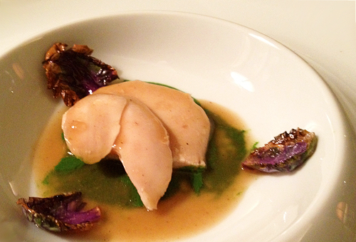 Bouley's chicken en cocotte with alfalfa and hay
