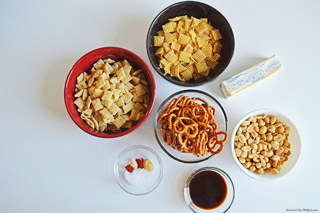 Crock Pot Chex Mix ingredients from Served Up With Love
