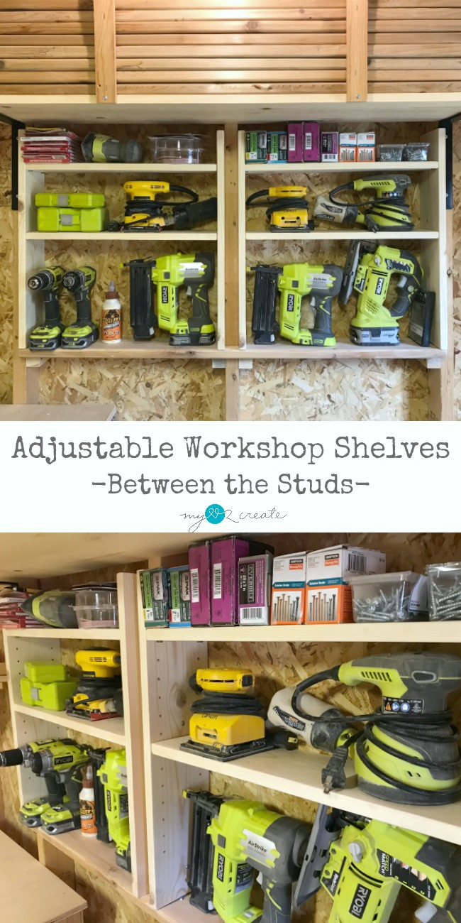 Organize your workshop with simple adjustable shelves