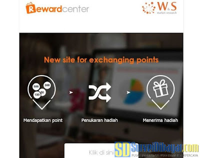 Reward Center fitur penukaran hadiah terbaru dari Nusaresearch | Surveidibayar.com