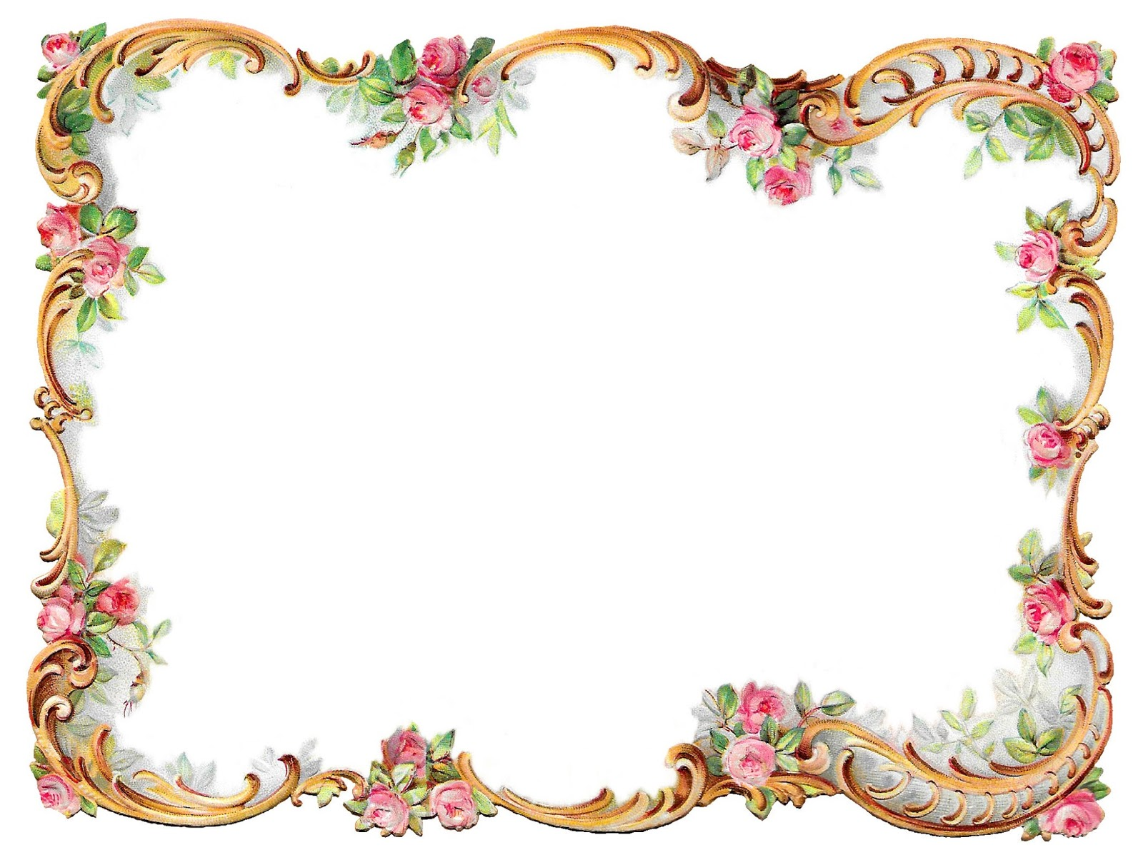 Antique Images Royalty Free Flower Frame Pink Rose Shabby Chic