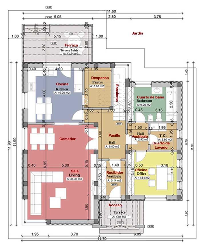 Casa moderna de 2 pisos proyectos de casas for Diseno casa planta baja