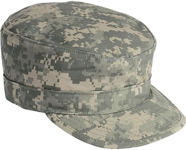 A cobertura de patrulha do exército americano foi introduzido na década de  1980 e mantido nos uniforme com camuflagem padrão até os dias atuais. a3fe19985ba