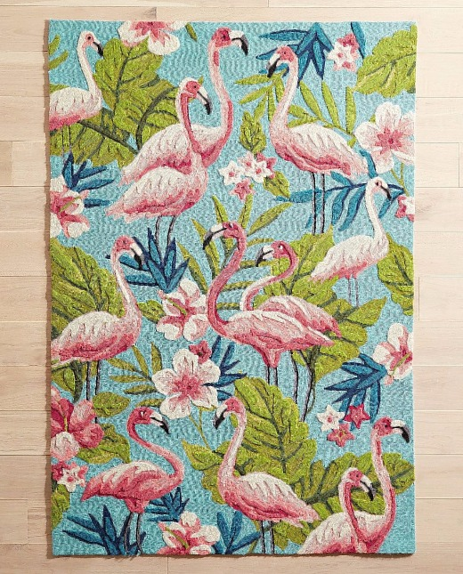 Modern Tropical Pink Flamingo Rug